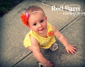SUPER DEAL...Eclectic Tangerine Bloom with Hot Pink Satin Rosette and Spunky Plaid Ribbon on Super Soft White Headband Photography Prop