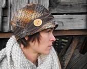 Rustic flapper hat- a vintage necktie cloche-unisex
