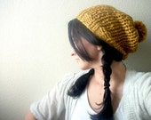 Slouch Hat with Pom Pom Hand Knitted in Mustard Fall and Winter Fashion
