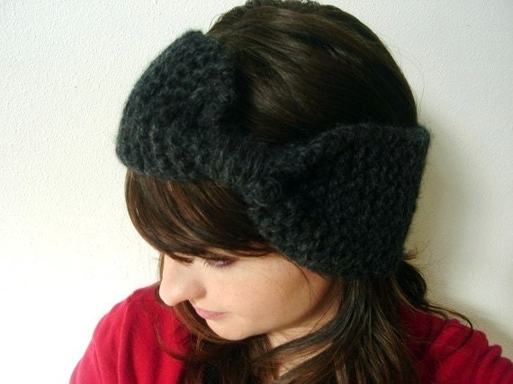 Headband Ear Warmer Hand knitted Extra Wide in Charcoal Fall and Winter Fashion