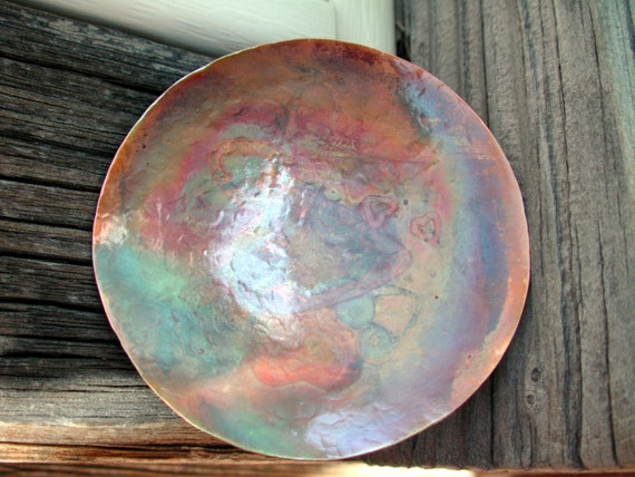 Small Hand Raised Copper Dish with Lots of Hearts