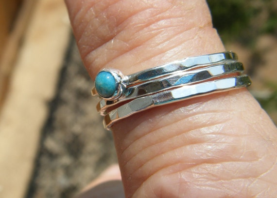 Tiny 3mm Turquoise and Sterling Silver Stacker