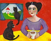 Frida and Black Cats PRINT 6x8