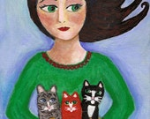 Girl with Basketful of Kittens PRINT 6x8