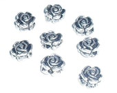 8 Silver Rose Spacer Beads, Destash Supplies by belladonnabeads on Etsy