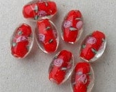 7 Red Rose Glass Beads, Destash Supplies by belladonnabeads on Etsy