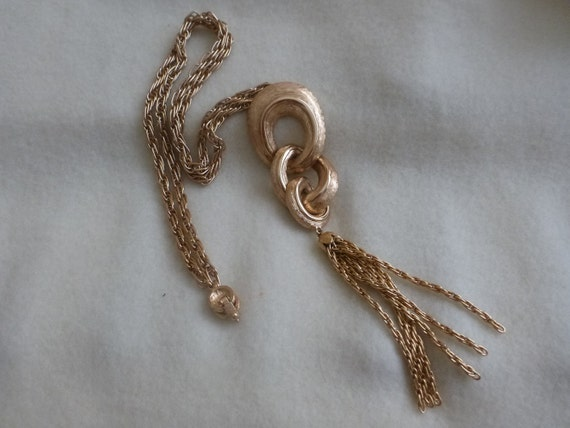 vintage Monet chain Tassel necklace