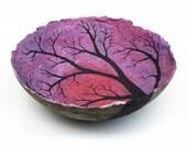 heliotrope sunset, decorative landscape handmade paper bowl by Sarah Knight, medium size