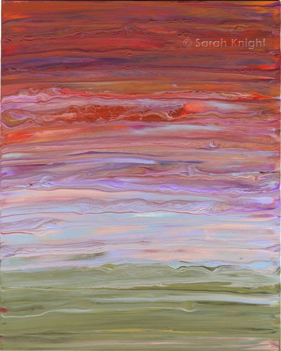 sunkissed alchemy phantasmagoria an original 8X10 abstract acrylic painting by Sarah Knight, red purple green color