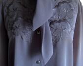 Vintage 1980s Black Embroidered Blouse