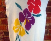 Vintage 1980's Floral Sleeveless Sweater