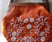 1960s Floral Burnt Orange Bermuda Bag