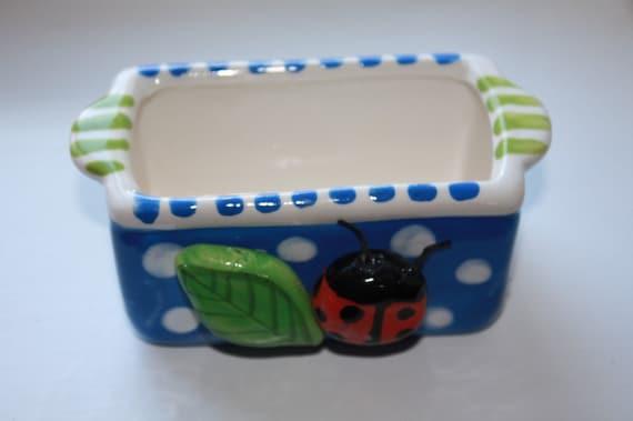 ceramic ladybug sweetener holder/tea bag holder