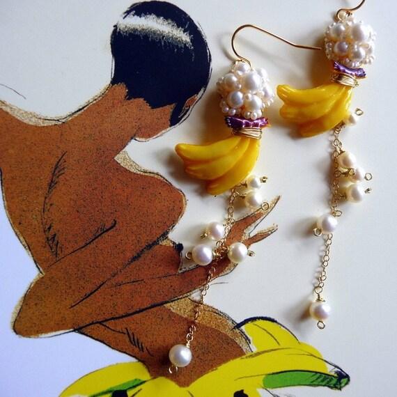 Josephine Baker Banana Dance Earrings - Freshwater Pearls and Vintage Plastic Bananas
