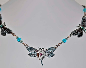 dragonfly necklace multi  aqua blue  crystals vintage  watch movement jewelry one of a kind made in Michigan