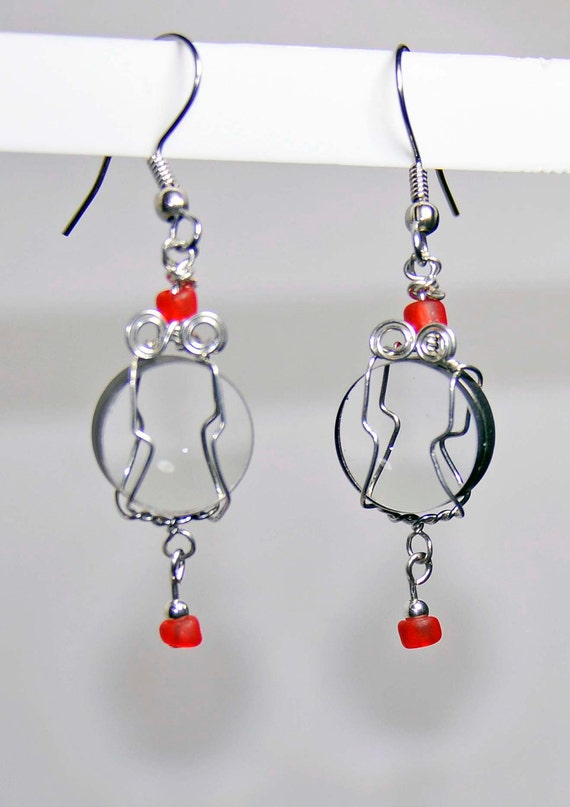 Camera lens earrings red beads wire wrapped jewelry glass vintage lenses artist made in Michigan