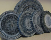 Blue Jean Hot Pad and Coaster Set Repurposed Denim Original Design Made To Order