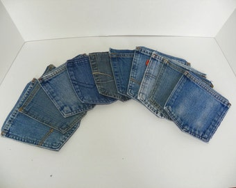 Plain  Blue Jean Denim Pockets for Crafts Upcycled Supply