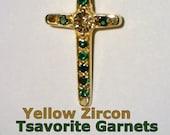 Yellow Zircon and Green Tsavorite Garnets Handmade 18K Gold Unisex Cross Pendant
