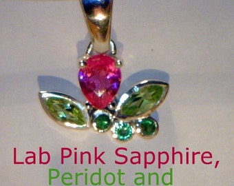 Pink Sapphire, Green Peridot, and Tsavorite Handmade Sterling Ladies Pendant