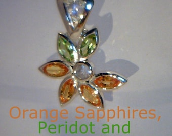 Orange Sapphire, Peridot and White Sapphire in Handmade Sterling Ladies Pendant
