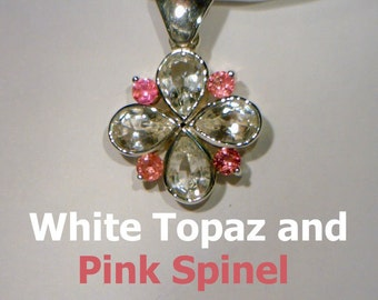 Sparkly White Topaz Pink Spinel Lady's Handmade 925 Sterling Silver Art Pendant