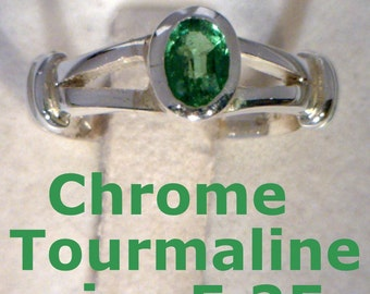 Chrome Green Tourmaline Handmade Sterling Silver Ladies Solitaire Ring size 5.25