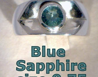 Natural Blue Sapphire Handmade Sterling Silver Unisex Gents Ladies Ring sz 9.75