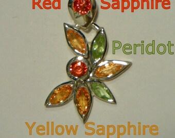 Red, Orange Sapphire, Peridot Handmade Sterling 925 Silver Ladies Floral Pendant
