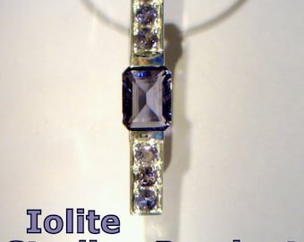 Blue Purple Natural Iolite Gemstones Handmade Sterling 925 Silver Ladies Pendant