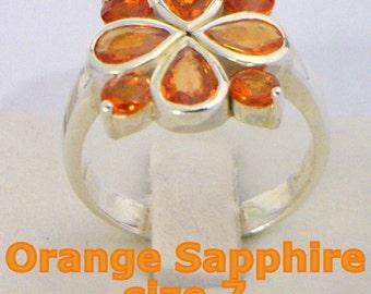 Orange Sapphire Gemstones Handmade Sterling Silver 925 Ladies Ring size 7