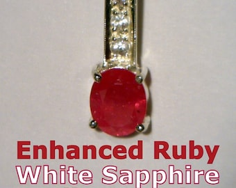 Enhanced Red Ruby with White Sapphire Handmade Sterling Silver Ladies Pendant