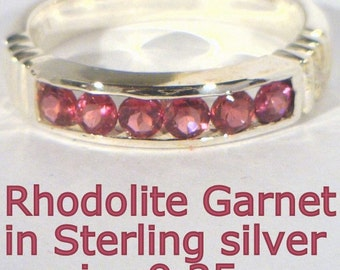 Rhodolite Garnet Handmade 925 Silver Unisex Gents Ladies Channel Ring size 9.25