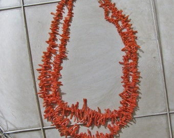 vintage double strand coral necklace