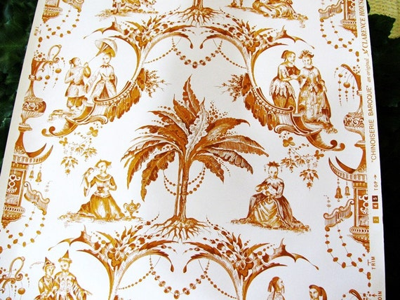 vintage clarence house chinoiserie baroque wallpaper