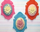 Mixed resin cameo and setting lot - 6 pieces