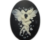 40x30mm resin cameo Kissing Embracing Fairies - Lovers Embrace - - Qty 2