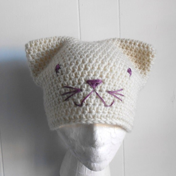 Kitty Cat Beanie in Cream with Lavender Face