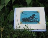 Original Artist Trading Card Nature Nesting Loons hand-carved linocut, ACEO original art