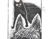 Funny Cat Art, Whimsical Cat Print, Black Cat Art Print, Cute Cat Wall Decor, Quirky Dog Art, Cat Wall Art