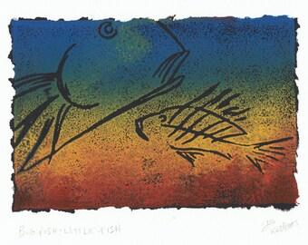 Rainbow Fish Art Colorful Fish Print Bright Nursery Art Fish Wall Decor Fish Wall Art Cottage Wall Art Relief Monoprint Funky Fish Art