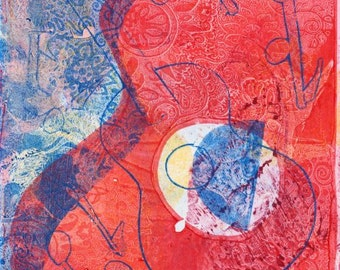 Abstract Guitar Art, Classical Guitar Art, Guitar Art Print, Guitar Wall Art, Red Blue Wall Art, Hand pulled Print, Original Monoprint OOAK