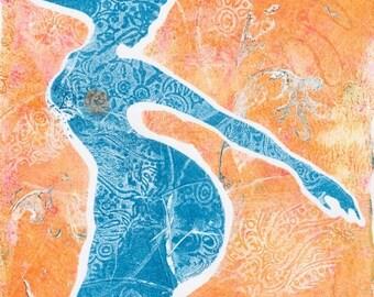 OOAK Art Deco Mermaid Art, Mermaid Wall Art, Mermaid Wall Decor, Monoprint Original, Imaginative Mermaid Art, Gift for Her, Wall Art Mermaid