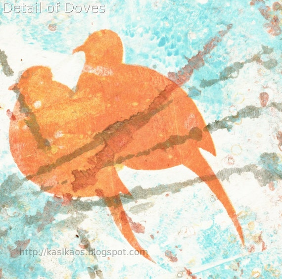 "Mourning Doves Abstract Gelatin Print Original Art on 8"" x 10"" Stonehenge Paper"