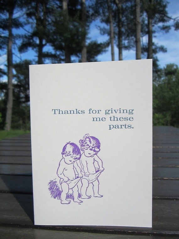Thanks for giving me these parts Happy Mother's Day Letterpress Card