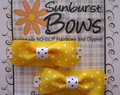 Sunburst Bows Boutique Tuxedo Bow Pigtail Set YELLOW POLKA DOTS French Clip Barrettes