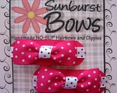 Sunburst Bows Boutique Tuxedo Bow Pigtail Set HOT PINK POLKA DOTS French Clip Barrettes