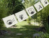 5 group prayer flags-Silk Flags-Lotus, Bamboo & Om-Lotus designs-windchime-entry-garden-wedding-garden gift-spring-dream-summer-home decor