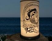 Mermaid, Dolphin Shoji Candle Lantern,Candle Holder, Home decor, Beach Lighting, wedding ocean sea, Jacques Cousteau, Kahlil Gibran, Awake