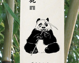 Panda Bear Silk Scroll - China - endangered species - World Wildlife Fund - Bamboo - I Ching - Contemplation